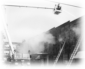 Old Hupp building on fire in 1968